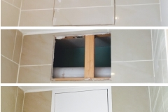 Stages of the installation of a gas safety inspection hatch
