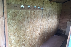 Repair of rotted shed wall, after